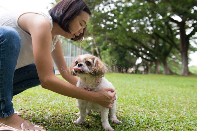 Azjatycka młoda dama z jej Shih Tze psem obrazy stock
