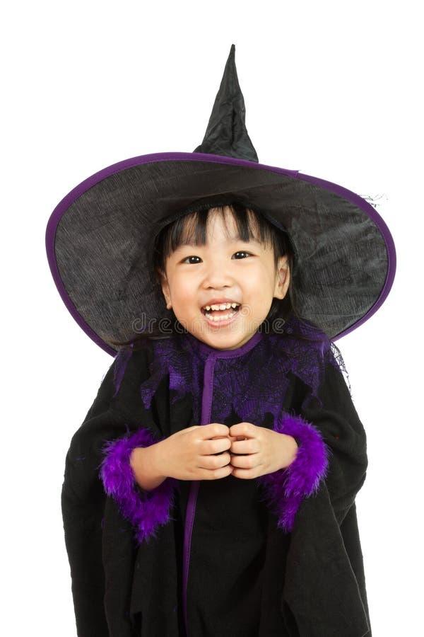 Azjatycka Mała Chińska dziewczyna Jest ubranym Halloweenowego kostium obraz royalty free