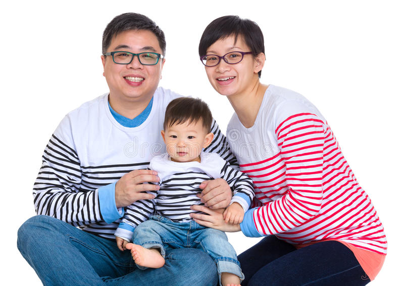 Azjatycka para z dziecko synem obraz royalty free