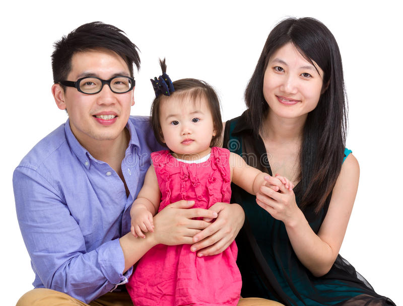 Azjatycka rodzina odizolowywająca na bielu obraz stock