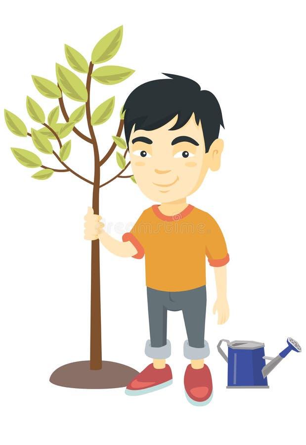 Azjatycka uśmiechnięta chłopiec zasadza drzewa ilustracja wektor