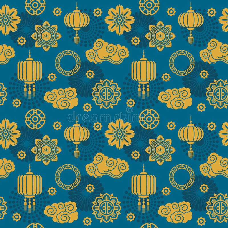 Azjatycka wektorowa dekoracja Chińskiego i japońskiego motywu bezszwowy wzór dla jedwabniczej tkaniny ilustracji