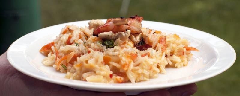 Azjatycki azjatyckich ryż risotto z piec na grillu krewetkami obraz stock