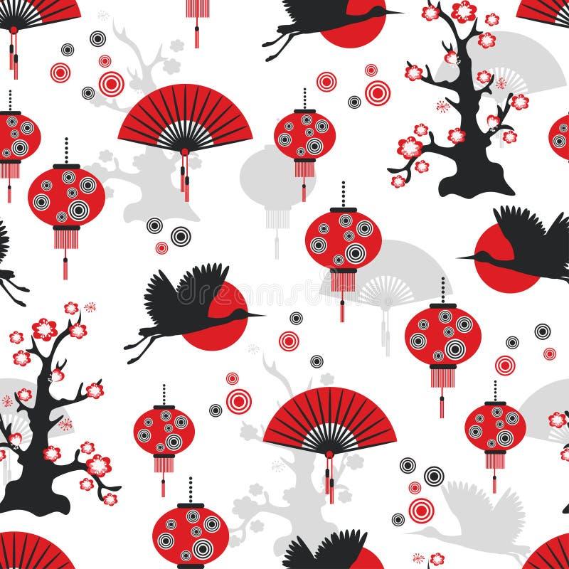 Azjatycki bezszwowy wzór ilustracji