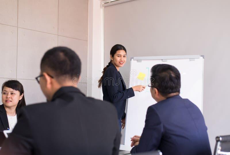 Azjatycki biznes teraźniejszy w deskowego pokoju spotkaniu, drużyny grupa dyskutuje wpólnie w konferencji przy biurem, ludzie  fotografia stock