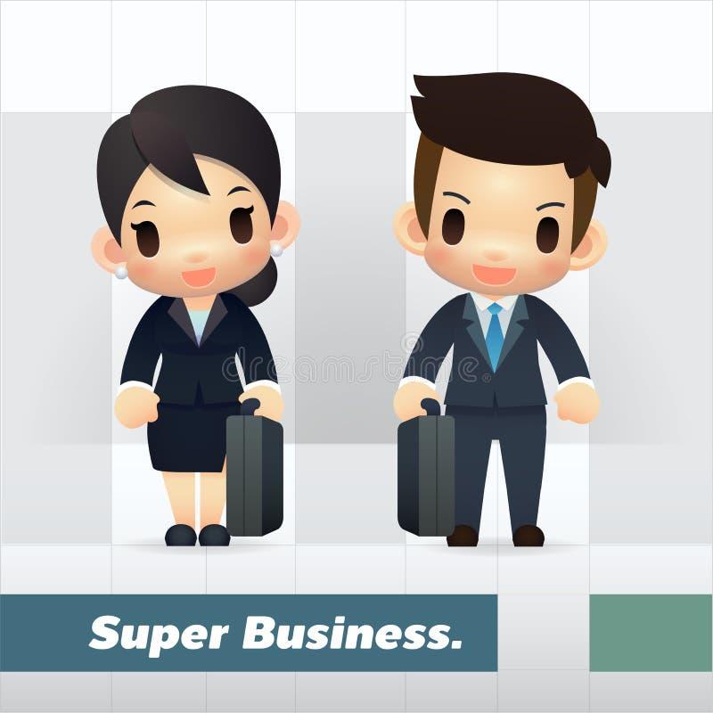 Azjatycki biznesmen i bizneswomany royalty ilustracja