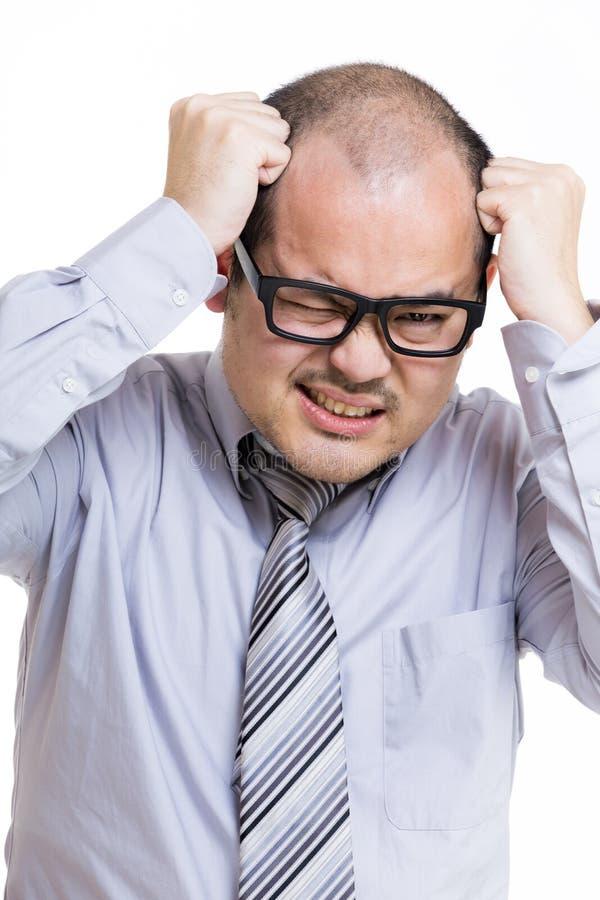 Azjatycki biznesmen pod stresem zdjęcie royalty free
