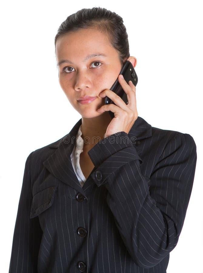 Azjatycki bizneswoman III I Smartphone zdjęcie royalty free