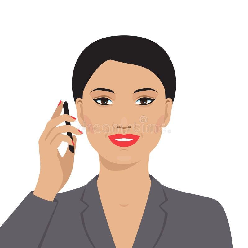 Azjatycki bizneswoman opowiada na telefonie komórkowym ilustracji