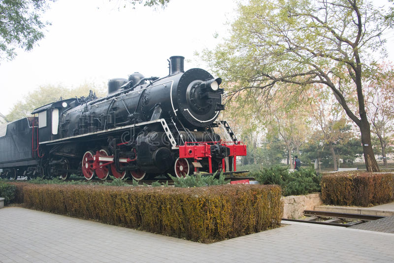 Azjatycki chińczyk, Pekin, Linglong park, lokomotywa, krajobraz fotografia stock