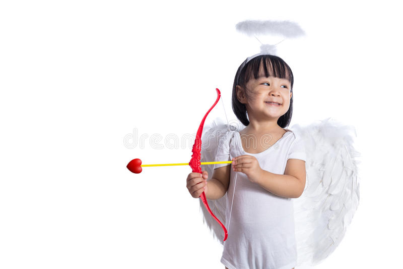 Azjatycki Chiński mały amorek z łękiem i strzała zdjęcie stock