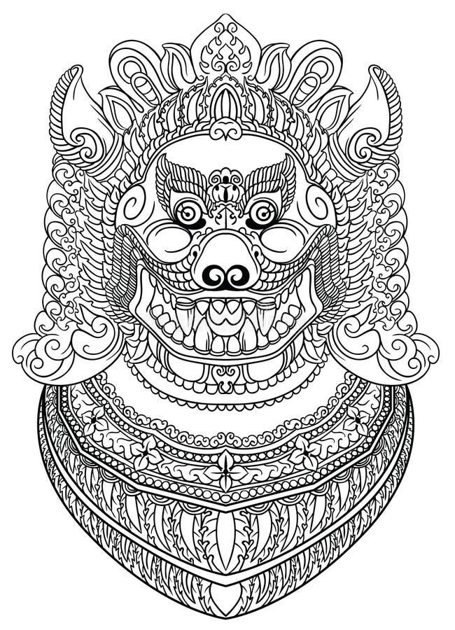 Azjatycki demonu pies, lew lub ilustracji