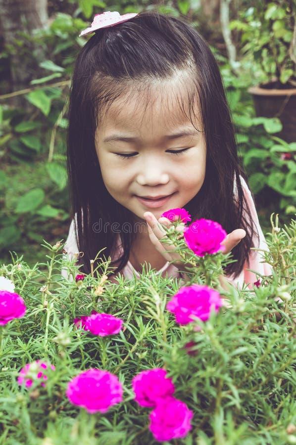 Azjatycki dziecko podziwia dla menchii natury i kwiatów wokoło przy backy obrazy royalty free