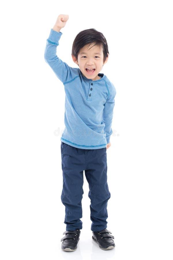 Azjatycki dziecko pokazuje zwycięzców sig fotografia stock