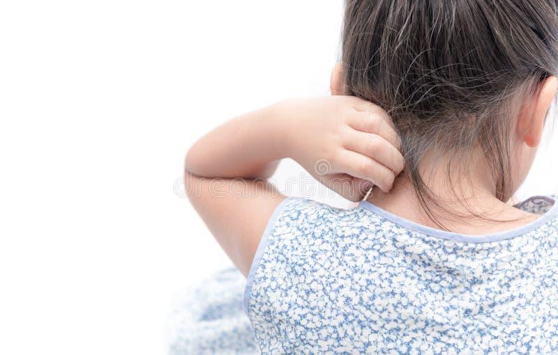 Azjatycki dziewczyna narys świąd z ręką odizolowywającą obrazy stock