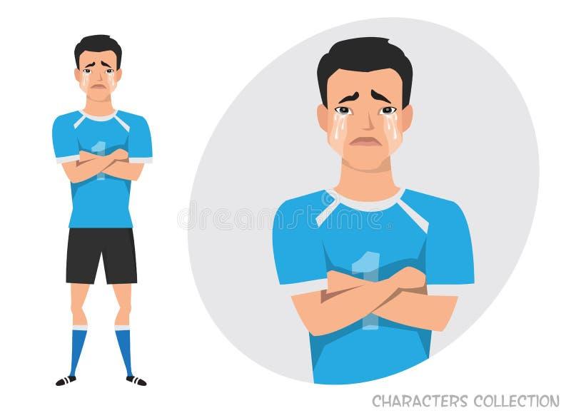 Azjatycki gracz futbolu krzyżował jego płacze i ręki Obsługuje łzy i depresję Emocja rozczarowanie i smucenie royalty ilustracja