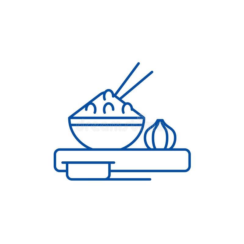 Azjatycki jedzenie linii ikony poj?cie Azjatycki karmowy p?aski wektorowy symbol, znak, kontur ilustracja ilustracja wektor
