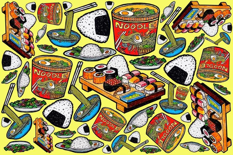 Azjatycki jedzenie wzoru projekt i ilustracje ilustracji