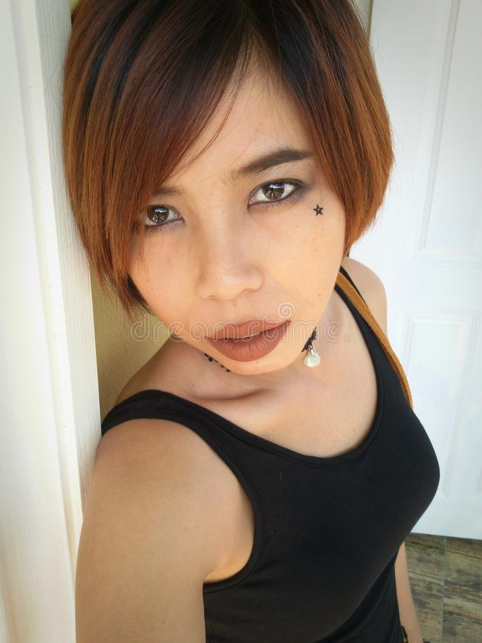 Azjatycki kobieta ruchu punków makeup fotografia royalty free