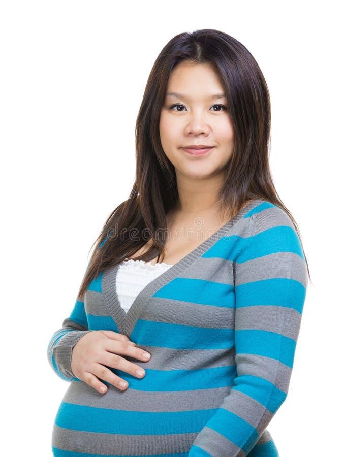 Azjatycki kobieta w ciąży portret zdjęcie royalty free