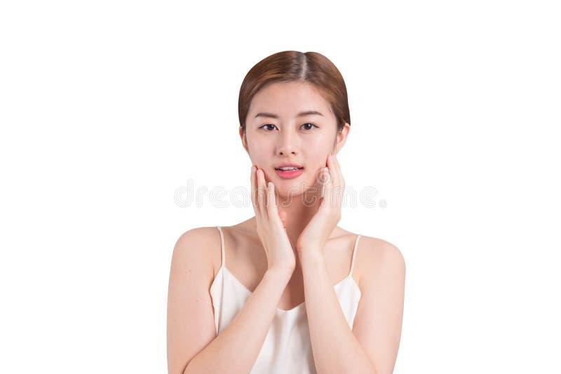 Azjatycki kobiety skóry opieki wizerunek dalej odizolowywa tło obraz royalty free