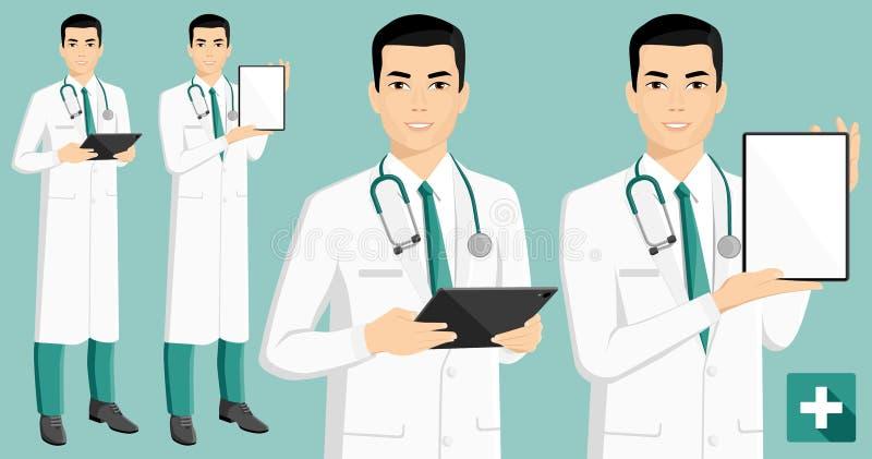 Azjatycki lekarz medycyny z cyfrową pastylką royalty ilustracja