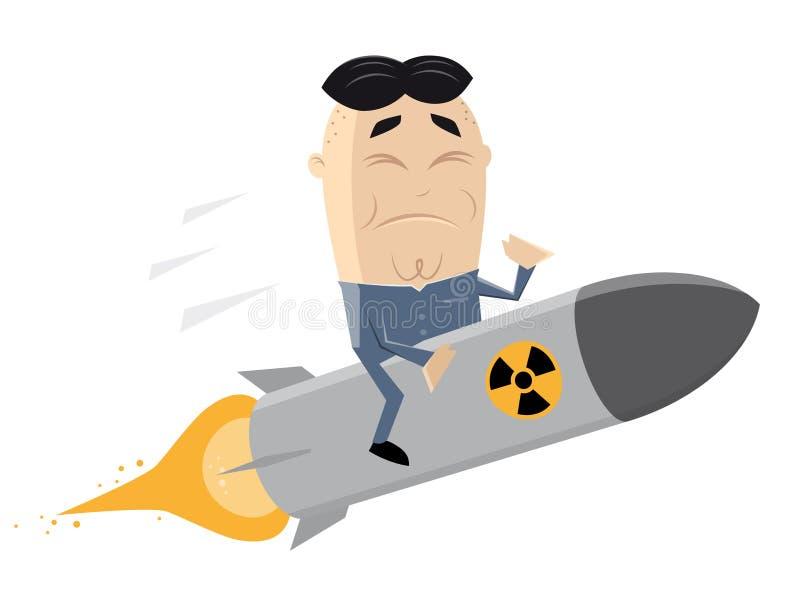 Azjatycki lider jedzie atomową bombę ilustracja wektor