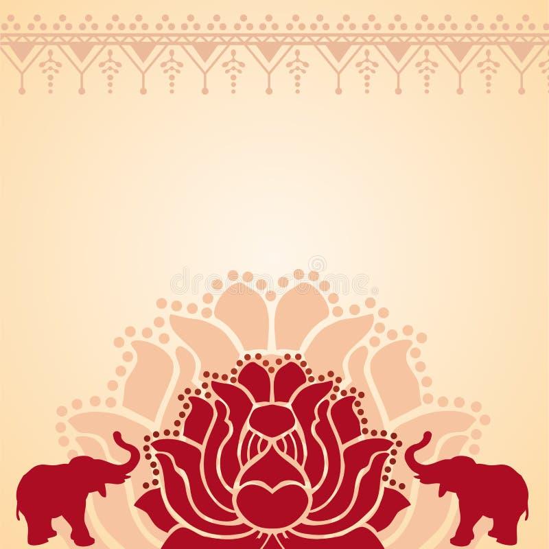 Azjatycki lotosu i słonia tło ilustracja wektor