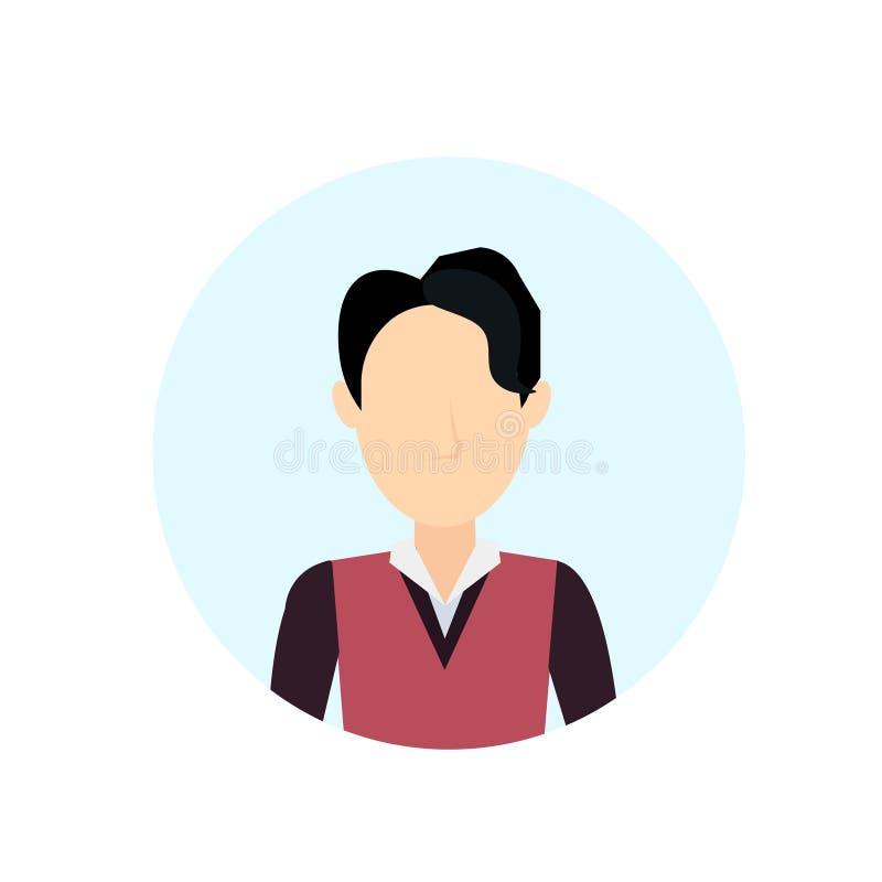Azjatycki mężczyzna avatar odizolowywał beztwarzowego męskiego postać z kreskówki portreta mieszkanie royalty ilustracja