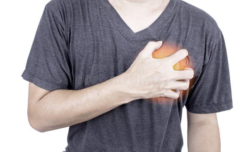 Azjatycki mężczyzna z trzymać jej klatkę piersiową w bólu cierpienie od słuchać obraz royalty free