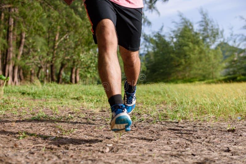 Azjatycki mężczyzny bieg na lasowej ścieżce podczas zmierzchu, zakończenia w górę nóg i cieków, fotografia royalty free