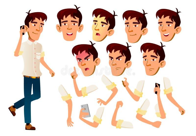 Azjatycki Nastoletni chłopiec wektor nastolatek Czas wolny, uśmiech Twarzy emocje, Różnorodni gesty Animaci tworzenia set Odosobn ilustracji