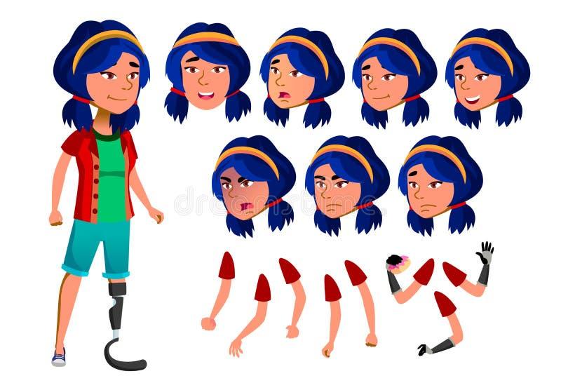 Azjatycki Nastoletni dziewczyna wektor Amputacja, Prosthesis Aktywność, Piękna Emocje, gesty jabłczana pojęcia zdrowie miara taśm royalty ilustracja