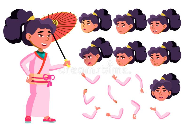 Azjatycki Nastoletni dziewczyna wektor nastolatek z parasolem Emocjonalny, poza Twarzy emocje, Różnorodni gesty Animaci tworzenie royalty ilustracja
