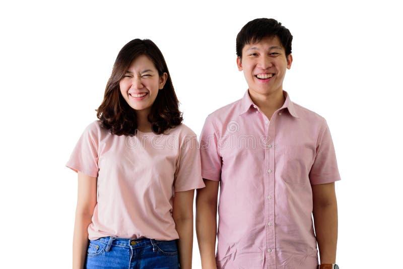 Azjatycki pary potrait z śmiesznym na odosobnionym na białym tle obrazy stock