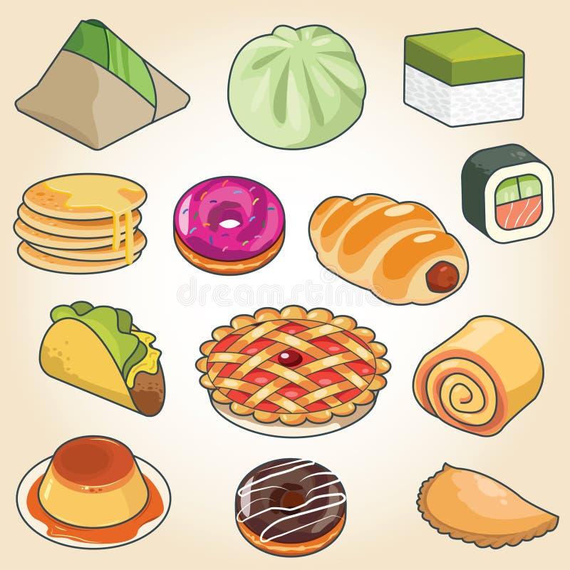 Azjatycki Popularny Tradycyjny jedzenie ilustracji