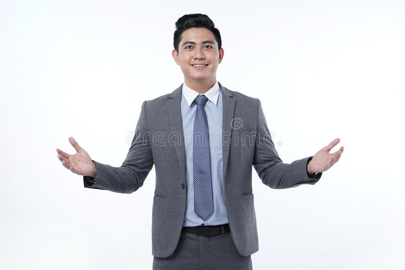 Azjatycki Przystojny Młody Biznesowy mężczyzna Odizolowywający na Białym tle zdjęcia royalty free