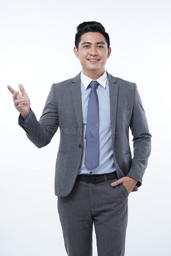 Azjatycki Przystojny Młody Biznesowy mężczyzna Odizolowywający na Białym tle zdjęcia stock