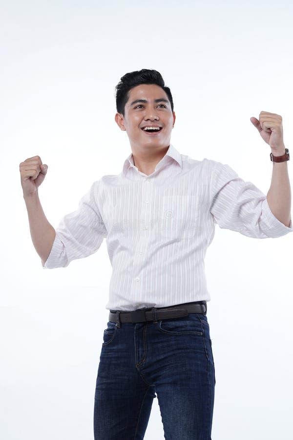 Azjatycki Przystojny Młody Studencki mężczyzna Odizolowywający na Białym tle fotografia stock