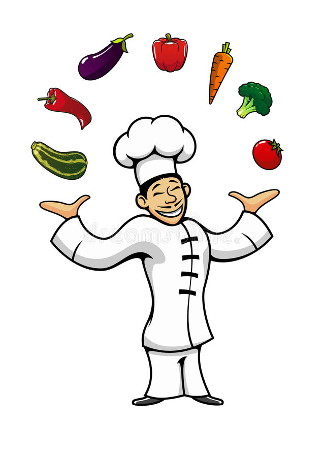 Azjatycki szef kuchni żongluje z świeżymi warzywami ilustracja wektor