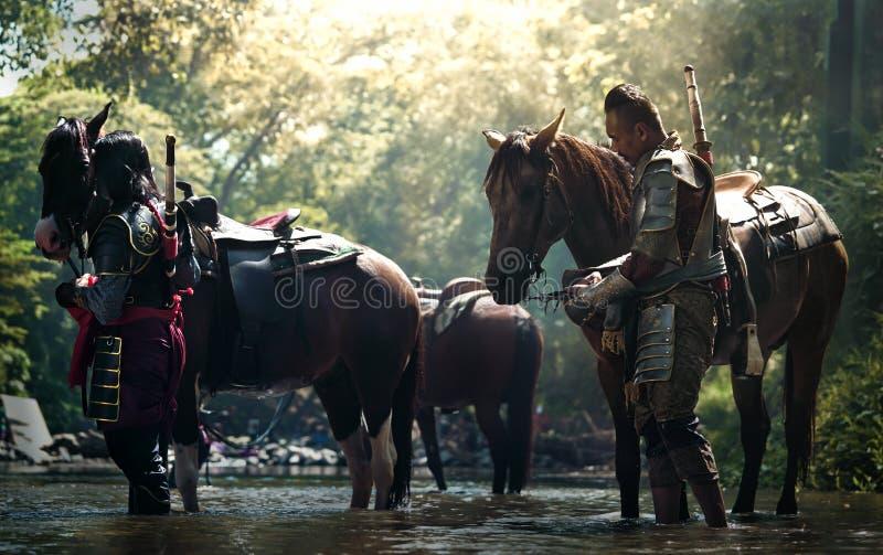 Azjatycki Tajlandzki żołnierz w opancerzenie kostiumu z koniem zdjęcia royalty free