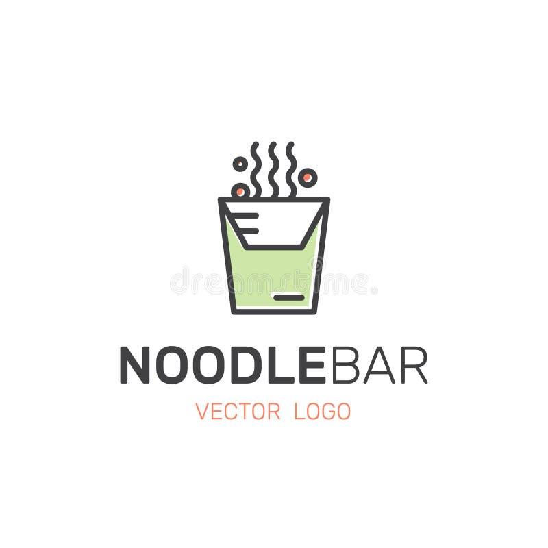 Azjatycki Uliczny fasta food bar, sklep, kluski posiłek w pucharze lub pudełko z Chopsticks, ilustracji