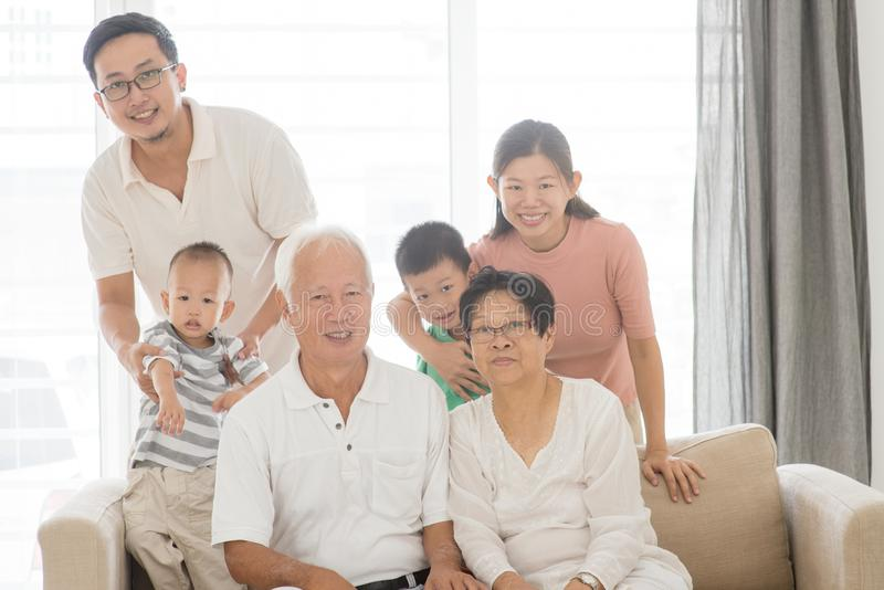 Azjatycki wielo- pokolenie rodziny portret obraz royalty free
