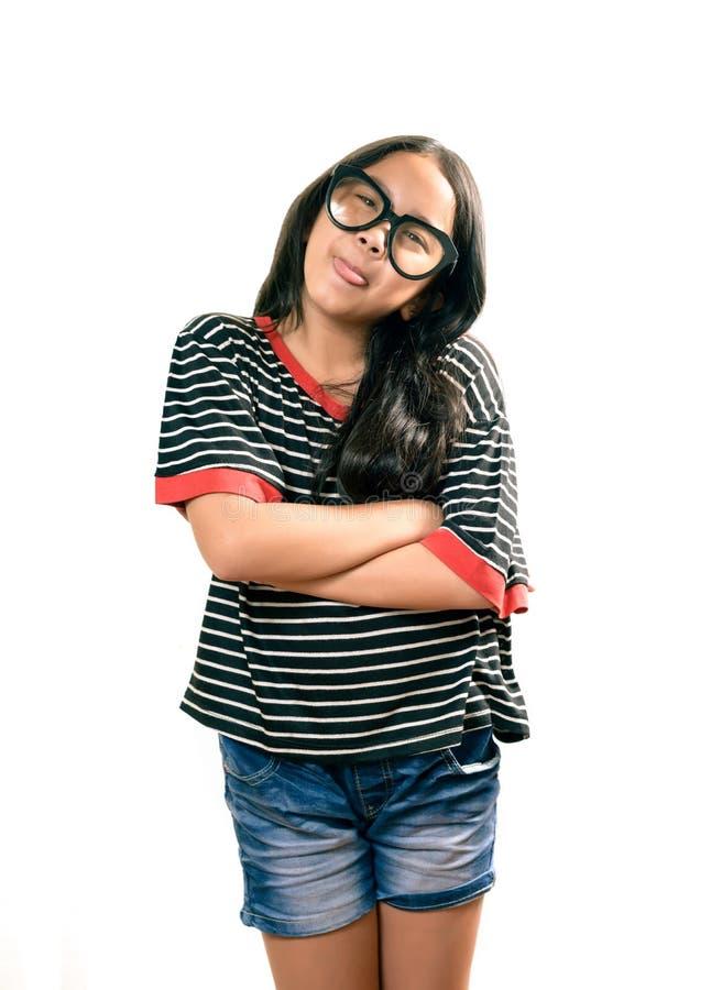 Azjatyckie dziewczyn pozy dla obrazka odizolowywającego na bielu obraz stock