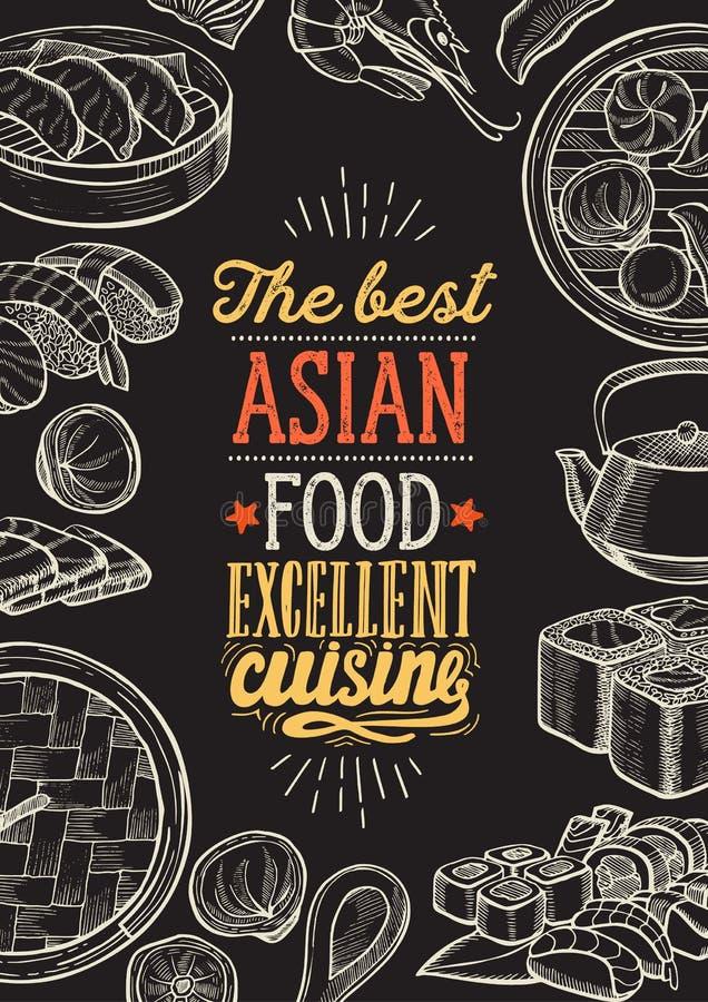 Azjatyckie ilustracje - suszi, dim sum, kluski, gyoza dla chi?skiej restauracji ilustracji
