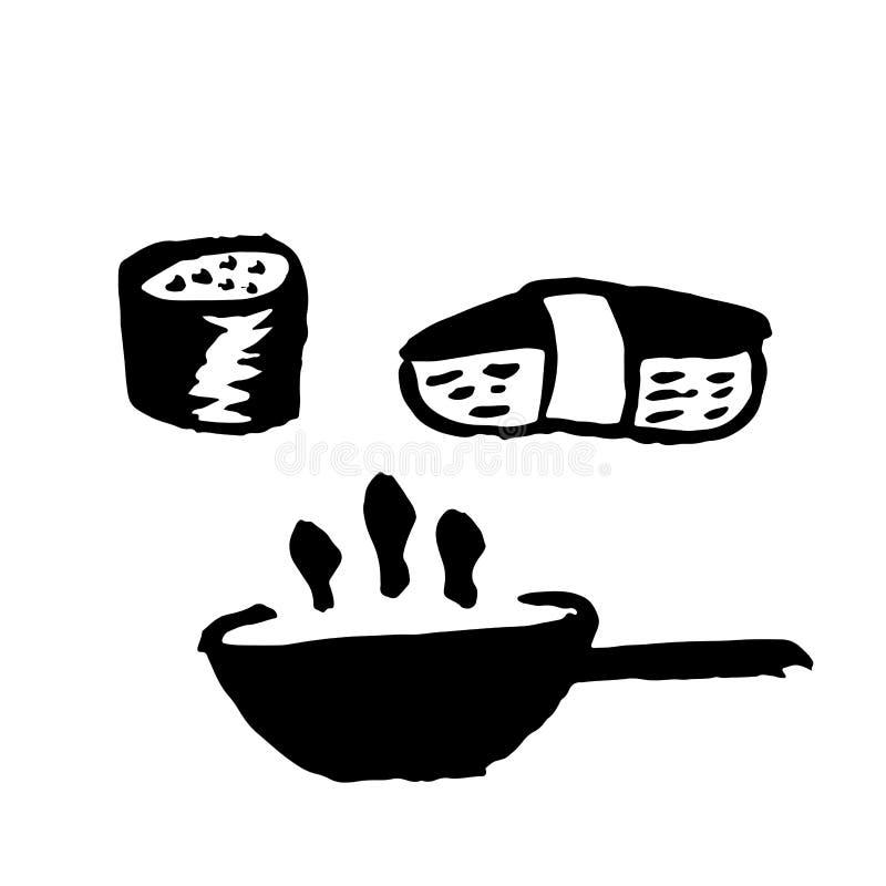 Azjatyckie karmowe grunge ikony ustawiać Ręka rysująca atramentu wektoru ilustracja royalty ilustracja