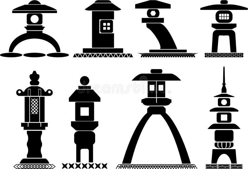Azjatyckie latarniowe ikony ilustracja wektor