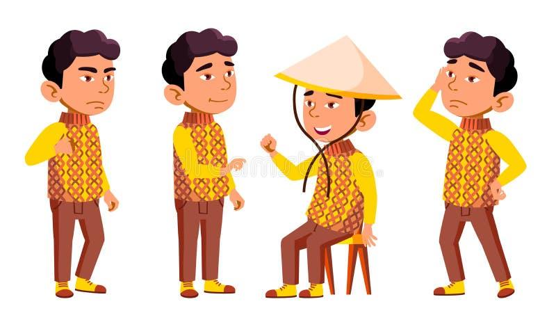 Azjatyckie pozy Ustawiający chłopiec dziecina dzieciaka wektor Festiwal, smok Charakteru Bawić się dziecięcy Przypadkowy Odziewa  ilustracji