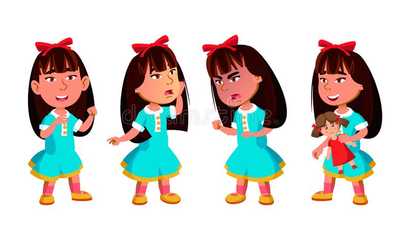 Azjatyckie pozy Ustawiający dziewczyna dziecina dzieciaka wektor preschool Młoda Pozytywna osoba piękno Dla sztandaru, ulotka, br royalty ilustracja