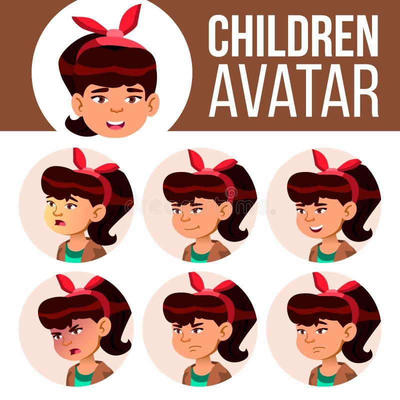 Azjatyckiego dziewczyny Avatar dzieciaka Ustalony wektor Szkoła Średnia Stawia czoło Emocje Wysoki, dziecko uczeń Mały, junior kr ilustracja wektor